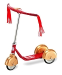 Retro Style 3 Wheel Scooter RED/GOLD