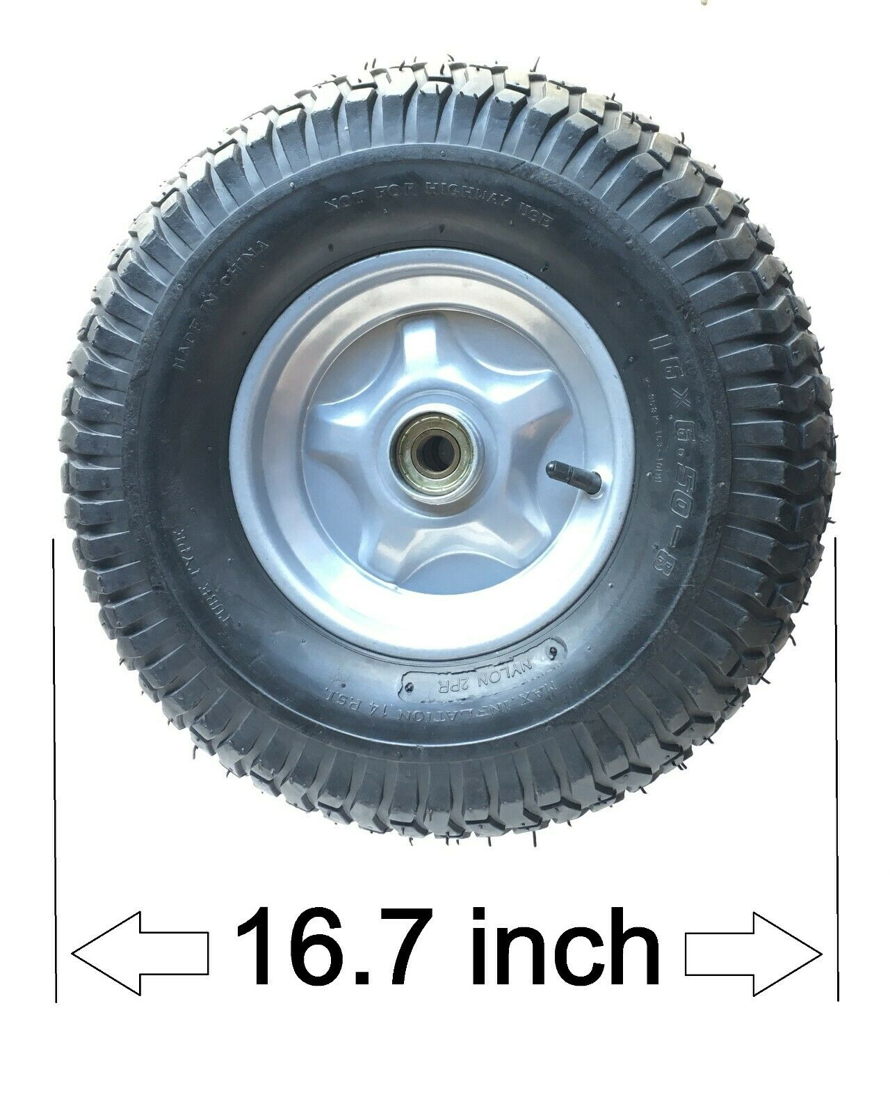 16X6.5 -8 Wheel 2-Ply Tire 14 PSI w/ Ball Bearing hub w drive plate for 20mm Shaft